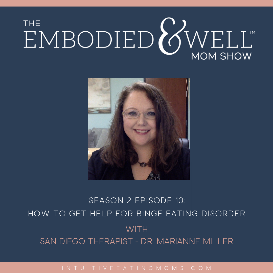 Graphic for Embodied and Well Podcast episode with Marianne Miller on Binge Eating Disorder